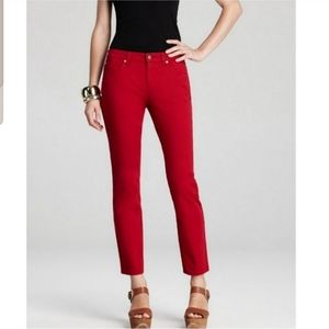 Eileen Fisher Red Organic Cotton Slim Leg Pants